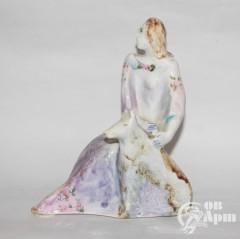 "Скульптура ""Дама с собакой"", фаянс, Артамонова"
